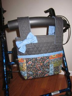 Walker/Rollator Bag in Quilted Patchwork Paisley and Black Makes A Statement!