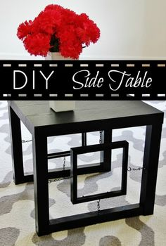 This end table cost $12.88 to make - seriously. Cheap stand, picture frames, chain and eye hooks. Pull it all together with black spray paint. Nice instructions on site.