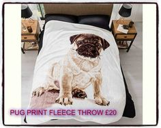 Pug Fleece Throw. Soft and snug faux mink throw, perfect for those chilly nights. Suitable for single and double beds. 100% polyester.  Size; L200cm x W150cm.  Hand wash.  To order please message me :-)