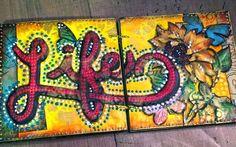 Mini Art Journal spread by Gwen Lafleur using her Ornamental Compass Screen stencil from StencilGirl.
