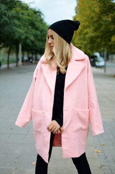 #black #beanie #pink #coat #stilettos #blonde #long #hair #autumn #winter #outfit #look #inspiration #chic #street #style #fashionblogger #ootd #wiwt #wiw #whatiwore #whatiworetoday #outfit #outfitoftheday #lookoftheday #ladymandala