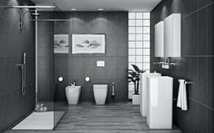 Image result for all grey and white bathrooms
