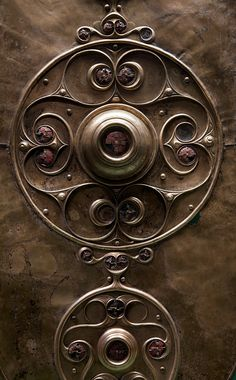 Detail from the Ancient Celtic Battersea Shield, 1st century BC or early 1st century AD, made of a sheet of bronze. It is one of the most si...