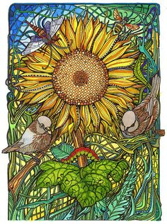 Sunflower and Sparrows. Adult colouring page for relaxation and mindfulness