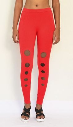 """Polka Slit Leggings"" Cotton & Lycra Leggings- Ankle Length. Buy Now :https://www.estrolo.com/product-category/women/leggings/ #RedLeggings #StylishLeggings #LeggingsNewCollection #EstroloFashion"