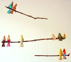 DIY Bird Mobile by Grace Bonney, designsponge: Perfect for a shower gift. Here is the link for the free bird pattern tinyurl.com/3zqwvk  #Bird_Mobile #DIY #Grace_Bonney
