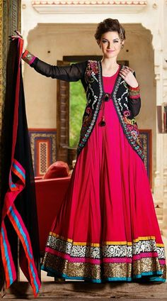 bc827da95b Fantastic magenta net ankle anarkali suit which is ornamented with resham  embroidery work on the koti