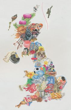Map of Britain by Mel Schade, created with Derwent watercolour pencils.