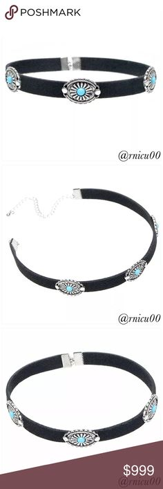 🆕Santo Boho Western Velvet & Turquoise Choker! On Trend, Boho Black Velvet Choker with Silver & Turquoise Pendants! HOT Statement Piece!  - See all measurements in last pic👌  *NO TRADES *Prices are FIRM-Listed at Lowest Price Unless BUNDLED! *Sales are Final-Please Read Descriptions! Boutique Jewelry Necklaces