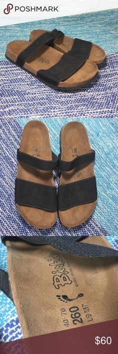 Birkenstock Birki's Black Elastic Slip On Sandals New without box. Extremely comfortable sandals that are very much in style right now. Both straps on these sandals are form fitting elastic. Excellent arch support. A cute everyday shoe. Size 40 is a US size 9/10. Birkenstock Shoes Sandals