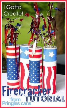 Pringles Can Firecracker Tutorial -- Make great center pieces and decor for Memorial Day and of July parties. Fourth Of July Decor, 4th Of July Celebration, 4th Of July Decorations, 4th Of July Party, July 4th, Patriotic Crafts, July Crafts, Summer Crafts, Holiday Crafts