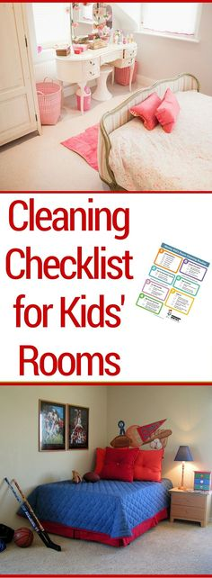 Do your kids say they don't know how to clean their room? This cleaning checklist for kids' rooms explains the steps involved so they can do it on their own. Print it and keep a copy handy for weekly cleaning chores. Cleaning Checklist, House Cleaning Tips, Diy Cleaning Products, Cleaning Solutions, Deep Cleaning, Spring Cleaning, Cleaning Hacks, Bedroom Cleaning, Cleaning Schedules
