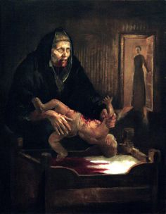 'Grýla' by Þrándur Þórarinsson. Grýla, is in Icelandic mythology, a horrifying monster and a giantess living in the mountains of Iceland. She is said to come from the mountains at Yuletide in search of naughty children. The Grýla legend has been frightening to the people of Iceland for many centuries - her name is even mentioned in Snorri Sturluson's thirteenth century Edda. Most of the stories told about Gryla were to frighten children – her favorite dish was a stew of naughty kids...