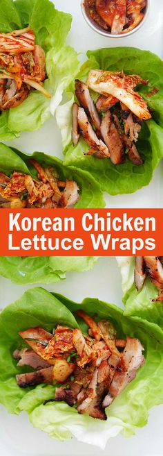 Korean BBQ Chicken Kimchi Lettuce Wraps – refreshing lettuce wraps with spicy . - Korean BBQ Chicken Kimchi Lettuce Wraps – refreshing lettuce wraps with spicy Korean grilled chic - Korean Grill, Korean Bbq Chicken, Korean Food, Chipotle Chicken, Korean Lettuce Wraps, Grilling Recipes, Cooking Recipes, Smoker Recipes, Healthy Recipes