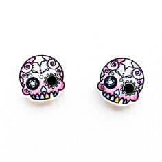 Pink Day of The Dead Mini Skull Studs by HouseOfWonderland on Etsy, £5.00 <3 these!!