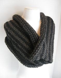Knit wool roving cowl black grey stripes