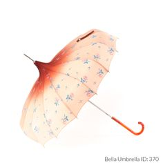 Umbrella ID 370 | Deep Orange to Pale Peach Ombre with Pink and Blue Floral Pattern | Orange Hook Handle | Bella Umbrella | Vintage Umbrella Rentals
