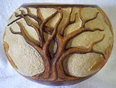 Two Old Oaks - Relief Carved Gourd - by monsterfish