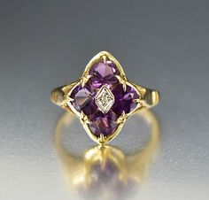 Vintage Gold White Sapphire Amethyst Ring