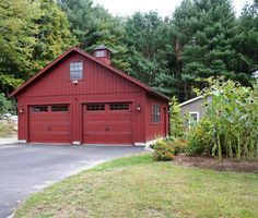 24' x 24' Vintage Cape Garage: T-1-11 siding, Extra windows, Carriage style overhead doors with Stockton glass, Cupola.
