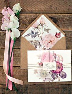 Rustic Wedding Invitation Card: the flower prints are beautiful and natural paper envelop coordinates with the theme of a rustic farm wedding. Wedding Invitation Envelopes, Flower Invitation, Rustic Invitations, Invitation Ideas, Invites, Indian Invitations, Quinceanera Invitations, Farm Wedding, Diy Wedding