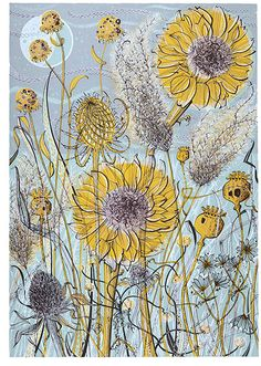 Angie Lewin - Autumn Garden, Norfolk - screen print