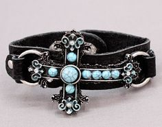 Turquoise Cross Leather Bracelet, $18.00