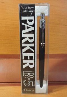 RARE NOS Vintage 1979 Matte Black Chrome Trim PARKER  B-5 ballpoint pen ENGLAND #Parker