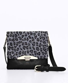 Ann Taylor-Animal Print Suede and Leather Runway Cross body Bag
