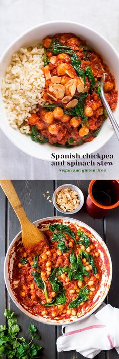 Rijst met een sausje van tomaten, kikkererwten en spinazie