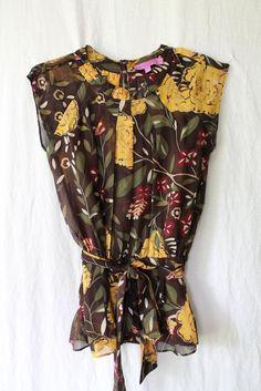 Christiane Celle (Calypso St. Barth Designer)  Sheer Brown Floral Blouse Set XS #CalypsoStBarth #Blouse #EveningOccasion