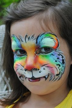 Regenboog tijger schmink / face paint Rainbow Tiger www. Girl Face Painting, Face Painting Designs, Painting For Kids, Animal Face Paintings, Animal Faces, Tiger Face Paints, Halloween Karneval, Face Paint Makeup, Clown Faces