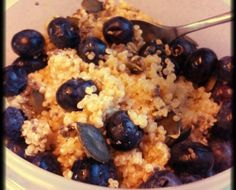 This is very easy. The night before, I just added a handful of frozen blueberries, some chia seeds and pumpkin seeds.