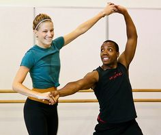 Pacific Northwest Ballet dancers Kiyon Gaines & Leah O'Connor in rehearsal. #ballet #PNB