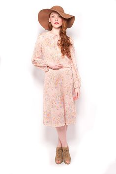 Vintage 60s Pink Boho Floral Bouquet Midi Dress by AmericanDrifter, $58.00