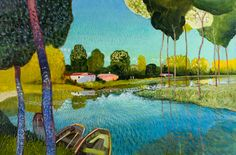 "Paul Jorgenson ( 1947-….), The Bend in the Canal, 24"" x 36"", acrylic on canvas"