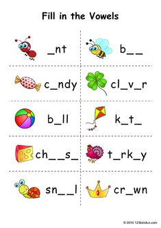 FREE Vowels Worksheets that help children practice key skills. Fill in the Vowels. English Activities For Kids, English Grammar For Kids, English Worksheets For Kindergarten, Teaching English Grammar, English Worksheets For Kids, English Lessons For Kids, Preschool Writing, Kids English, English Writing Skills