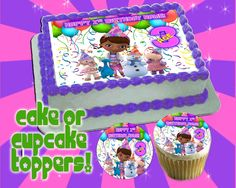 Doc Mcstuffins Personalized CAKE TOP edible or cupcake toppers Birthday - Sugar icing frosting sheet picture photo decal transfer sticker by Pictures4Cakes on Etsy https://www.etsy.com/listing/172239546/doc-mcstuffins-personalized-cake-top