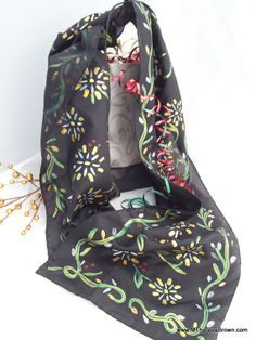 Stunning black silk scarf. Hand painted silk painting by M Theresa Brown.