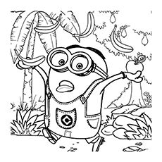 Minions coloring pages coloring books minion stencil for Minion banana coloring pages
