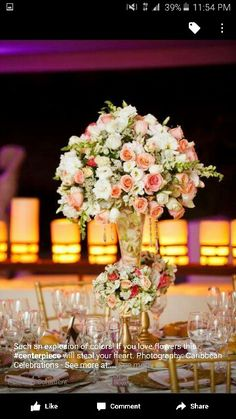 High arrangement, with lavender flowers and no greenery!