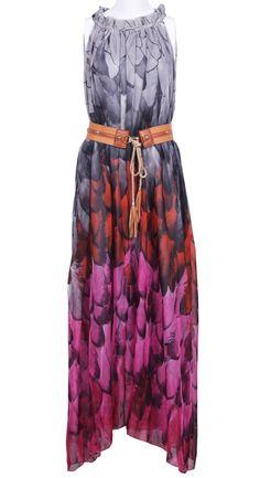 Floral Belt Chiffon Dress maxi dress #anna7891 #style for women #womenfashionwww.2dayslook.com