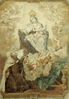 allaboutmary:  Our Lady of Mount Carmel appearing to St Simon Stock and presenting him with the Carmelite scapular.
