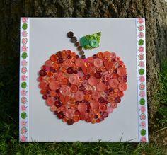 """Bilder - Knopfbild """"Apfel"""" - ein Designerstück von AKTPICA bei DaWanda"""