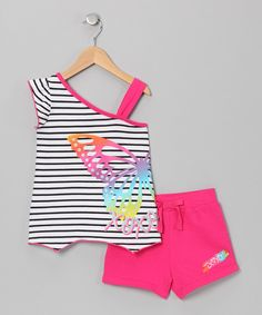 Take a look at this XOXO Fuchsia Butterfly Asymmetrical Tank & Shorts - Toddler & Girls on zulily today!