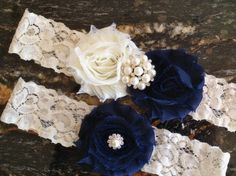 Wedding Garter, Wedding Garter Set - Navy Wedding Garter, Lace Wedding Garter…