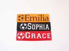 Personalized Stretch Soccer Headband by North Pine Design This is one of my most popular products. A stretch headband measures 2.25 inches wide with a circumference of 18 inches. It fits heads from toddler to adult. They have great stretch and return. This listing is for one headband in your choice of colors with name and soccer ball in one color of vinyl. Glitter vinyl at no additional cost.Please state in notes to seller: *the font choice, *the color of the vinyl, *the name as you want it…