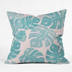 Bianca Green Linocut Monstera Pastel Outdoor Throw Pillow | DENY Designs Home Accessories