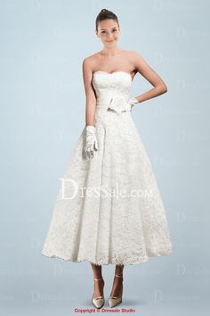 Lovely A-line Tea-length Wedding Dress with Lace Overlay and Handmade Flower $162.99