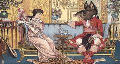 Ilustración de Walter Crane donde la bella y la bestia charlan animadamente como si tal cosa.